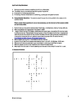 April Fool's Day Worksheet, Article, questions and crossword