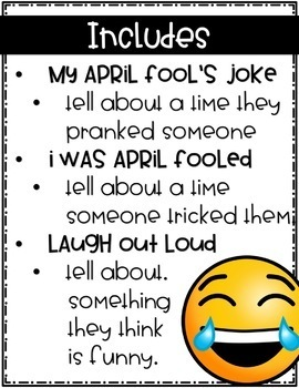 April Fools Day Writing - Print and Digital Versions