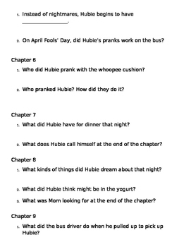 April Fools' Day from the Black Lagoon Comprehension Questions