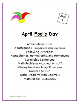 April Fool's Day - work with topics and concepts that are