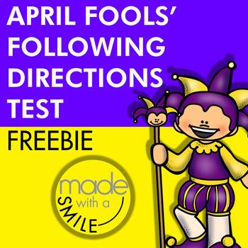 April Fools' Following Directions FREEBIE