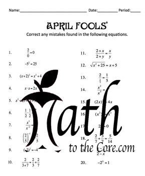 April Fools Math -  Common Algebra Mistakes