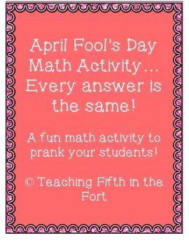 April Fools Math Review Fun Prank Activity