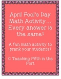 April Fools Math Review Fun Prank Activity