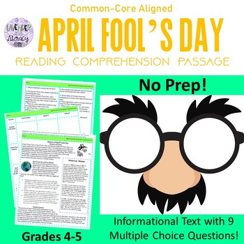 April Fools Reading Comprehension 4-5 by Lavender and Literacy | TpT