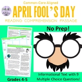 Distance Learning April Fools Reading Comprehension 4-5