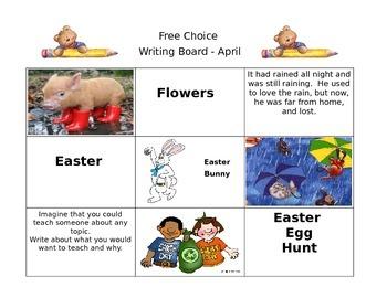April Free Choice Writing Board