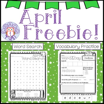 April Freebie! Word Search and Earth Day Vocabulary Page