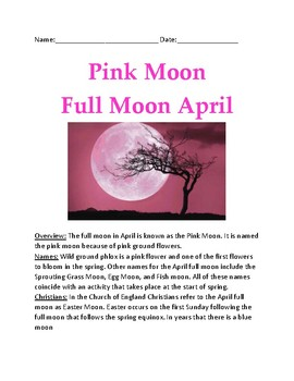 April Full Moon - Pink Moon - lesson facts information questions review