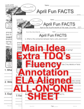 April Fun FACTS CLOSE READING 5 LEVELED PASSAGES Main Idea Fluency Check TDQs