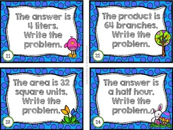 April Higher Order Thinking Math Task Cards