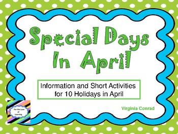 April Holiday Fun Sheets