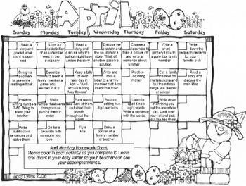 April Homework Calendar