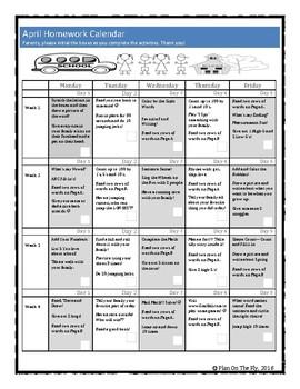 pre-k homework calendar