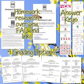 Third Grade Homework April {40+ NO PREP Printables & Editable Homework Menu}
