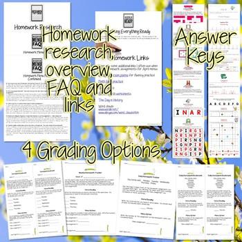 Third Grade Homework April {40+ NO PREP Printables & Editable Homework Menu}