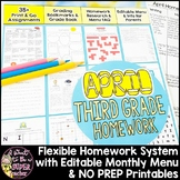Third Grade Homework April | 40+ NO PREP Printables & Editable Homework Menu