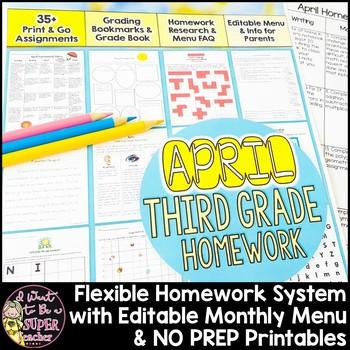 Third Grade Homework April {30+ NO PREP Printables & Edita