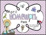 April Homework Pack for Kindergarten
