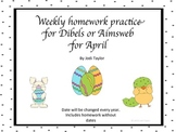April Homework Practice for AIMSWEB or DIBELS