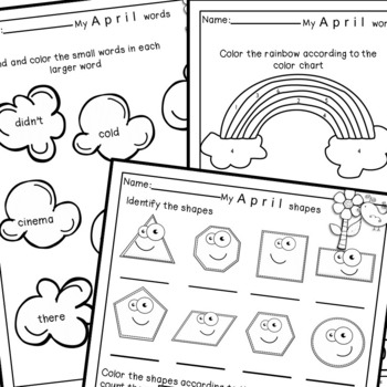 April Homework for Kindergarten-Literacy and Math