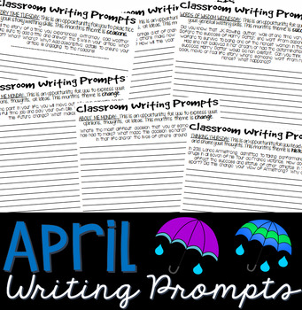 Writing Prompts APRIL (Bell Ringer, Morning Work, Daily Writing)