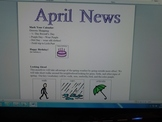 April Interactive Newsletter with Boardmaker Symbols for n
