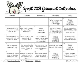 Writing Calendar - April 2018 & IB