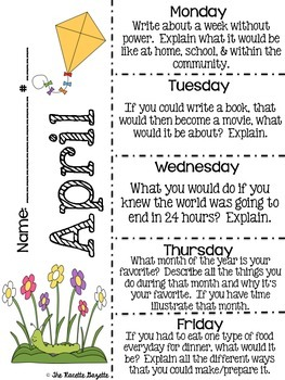 April Journal Prompt Clips