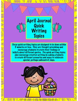 April Journal Quick Writes Brain Juice