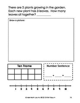 April Kinder Math Journal