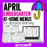 April Kindergarten At-Home Learning Menus for Distance Learning