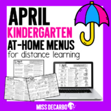 April Kindergarten At Home Menus for Distance Learning Digital