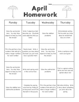 April Kindergarten Common Core Homework Packet