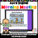April Kindergarten Digital Morning Meeting For GOOGLE SLIDES