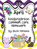 April Kindergarten Homework