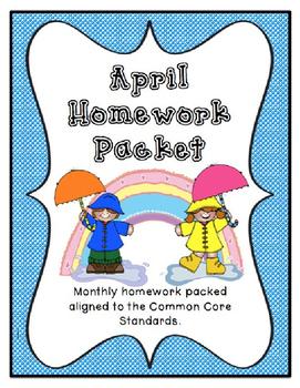 April Kindergarten Homework Packet