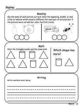 April Kindergarten Homework or Morning Work