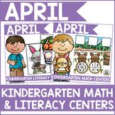 April Kindergarten Math & Literacy Centers Bundle