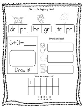 April Kindergarten Morning Work, Daily Math and Literacy Practice