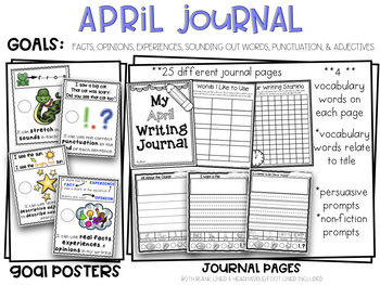 April Kindergarten Non-Fiction & Persuasive Pictorial Print & Go Writing Journal