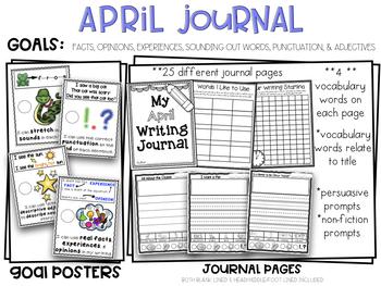 April Kindergarten Non-Fiction & Persuasive Pictorial Print & Go Writing Journal