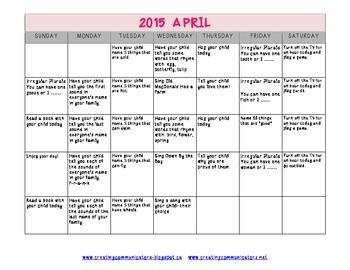 April Language Calendar