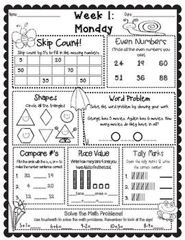 April Language Arts & Math Warm-Up Work