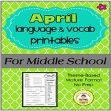 April  Language and Vocabulary Printables for Middle School Speech Therapy