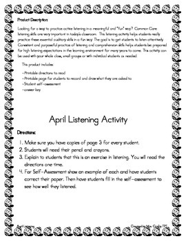 April Listening Activity