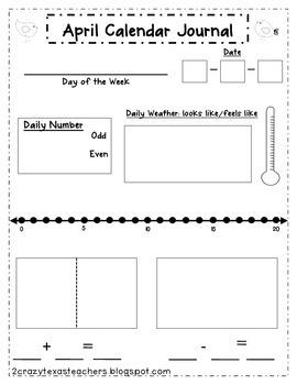 April Literacy Journal & Calendar Journal