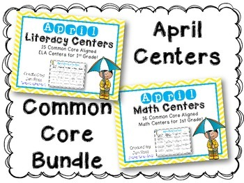 April Literacy & Math Centers Menu BUNDLE {CCS Aligned} Grade 1