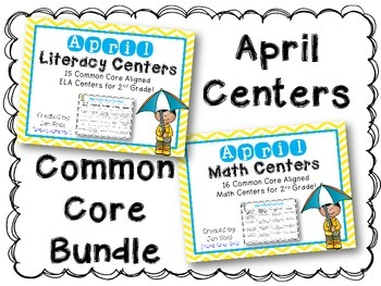 April Literacy & Math Centers Menu BUNDLE {Common Core Aligned} Grade 2