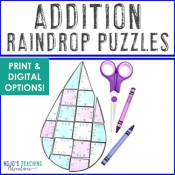 April Math Centers, Spring Math Center: April Showers Bring May Flowers ADDITION